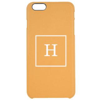 Tangerine Orange White Framed Initial Monogram Clear iPhone 6 Plus Case