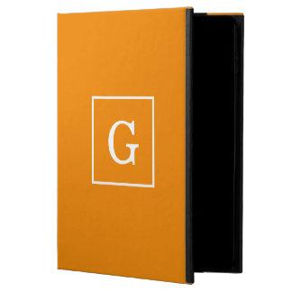 Tangerine Orange White Framed Initial Monogram Powis iPad Air 2 Case