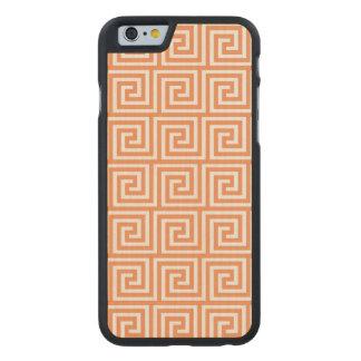 Tangerine Orange White Greek Key Pattern Carved® Maple iPhone 6 Slim Case