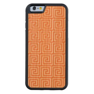 Tangerine Orange White Greek Key Pattern Cherry iPhone 6 Bumper Case