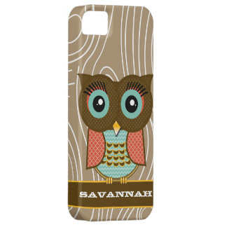 Tangerine Owl Wood Grain Zig Zag Choose Your Color iPhone 5 Case