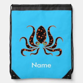 Tangerine Polka Dot Octopus Personalized Drawstring Bag
