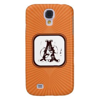 Tangerine Spring Rays Monogram 3G/3GS  Galaxy S4 Case