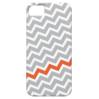 Tangerine stripe gray diagonal chevron pattern iPhone 5 case