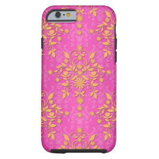 Tangerine Tango Daisy Damask Tough iPhone 6 Case