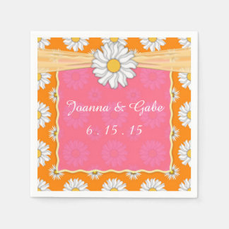 Tangerine Tango Orange Pink Daisy Floral Wedding Disposable Napkins