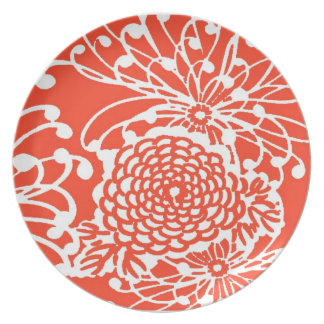 Tangerine Tango Retro Floral Dinner Plate