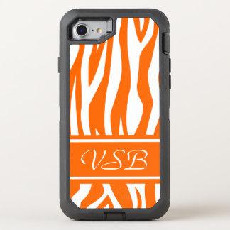 Tangerine Zebra Print with monogram OtterBox Defender iPhone 7 Case
