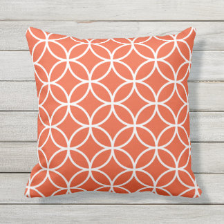 Tango Orange Outdoor Pillows - Circle Trellis