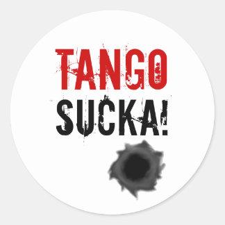 Tango sucka! sticker with bullet hole