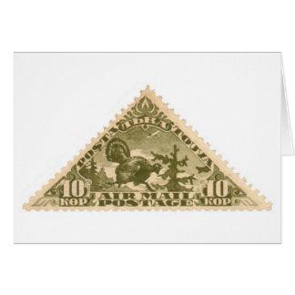 Tannu Tuva 10 Turkey Olive Triangle Stamp Card
