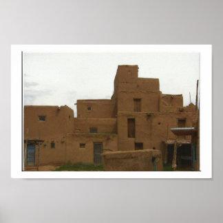 Taos Pueblo Architecture Poster