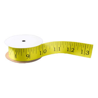 Tape Measure Imperial Inches Ruler Yellow Ribbon Satin Ribbon