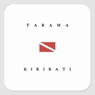 Tarawa Kiribati Scuba Dive Flag Square Sticker