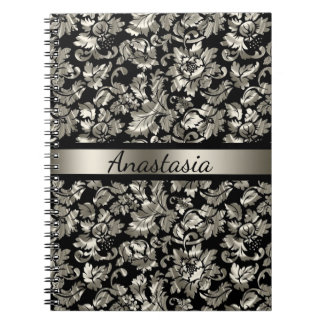 Tarnished Silver Damask Spiral Notebook