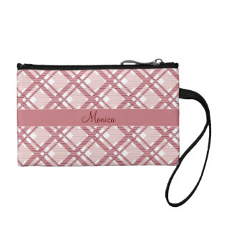 Tartan pattern of stripes and squares coin purse