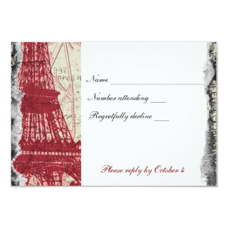 Tattered Red Paris Eiffel Tower rsvp with envelope Custom Invitation