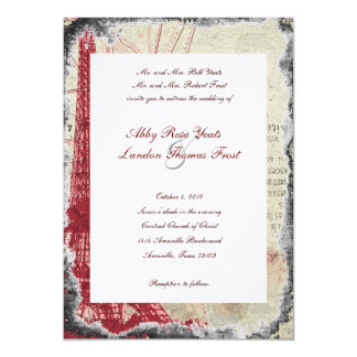 Tattered Red Paris Eiffel Tower Wedding Invitation