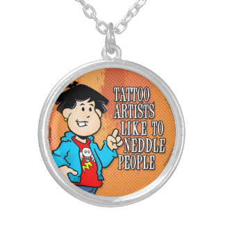 Tattoo Artist Silver Plated Necklace