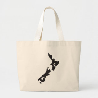 Tattoo Black version of a New Zealand map Large Tote Bag
