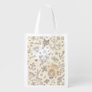 Tattoo concept pattern reusable grocery bag