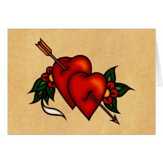 Tattoo Hearts with Arrow Card