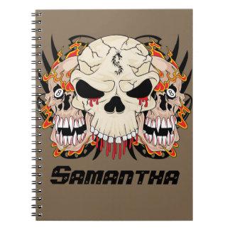 Tattoo Skull Eight Ball Flame Fire Spiral Notebook