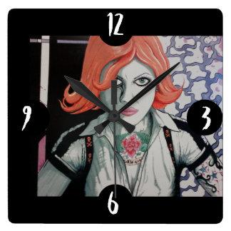 Tattoo Zombie Girl (AOM Design) Square Wall Clock