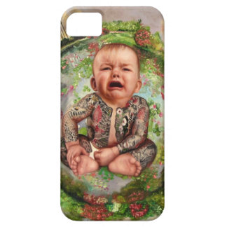 Tattooed baby crying sitting on world iPhone case. Case For The iPhone 5