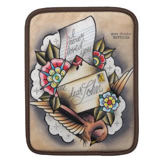 "Tattooed ""i never loved you"" ""dear john"" letter iPad sleeve"