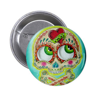 Tattooed skull 6 cm round badge