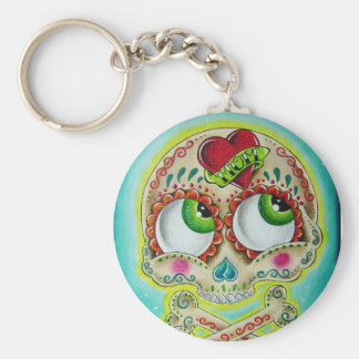 Tattooed skull basic round button key ring