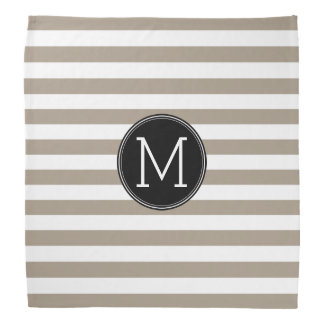 Taupe and White Striped Pattern Black Monogram Bandanas