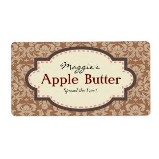 Taupe & Brown Apple Butter Jam Jar Labels
