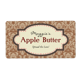 Taupe & Brown Apple Butter Jam Jar Labels, Custom