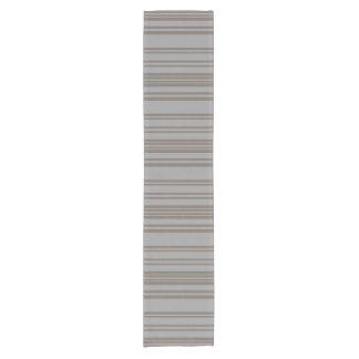 Taupe gray awning stripe pattern table runner