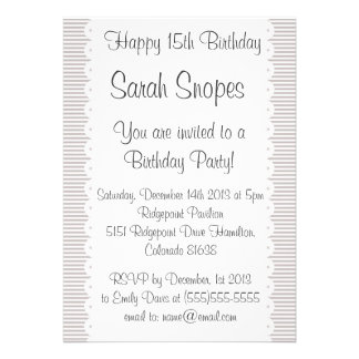 Taupe Pinstripes Birthday Party Invitation
