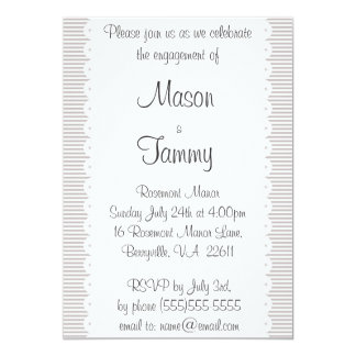 Taupe Pinstripes Engagement Party Invitation