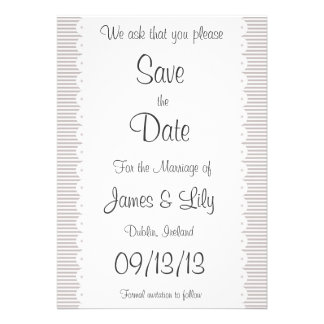 Taupe Pinstripes Save The Date Announcement