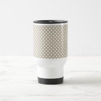 Taupe Polka Dot Retro Travel Mug