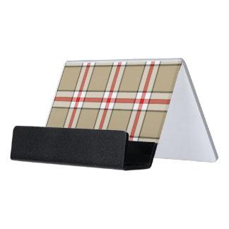 Taupe/Red Plaid Business Card Holder Desk Business Card Holder