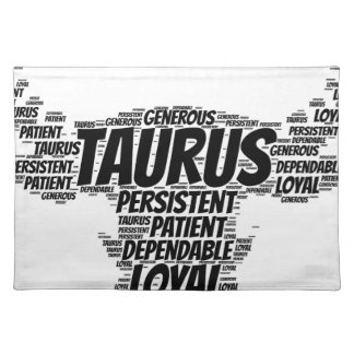 Taurus Astrology Zodiac Sign Word Cloud Placemat