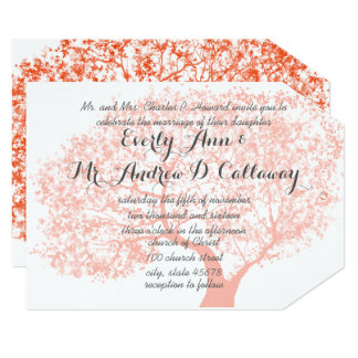 Tawny Orange Pale Coral and Flame Forest Wedding Card