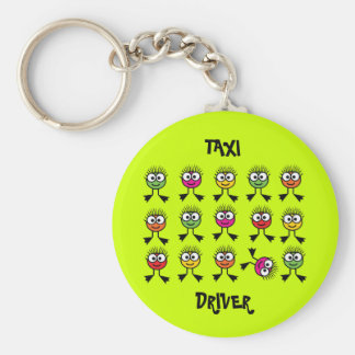 Taxi Driver Key Ring- Swimming Parent - Lime Green Basic Round Button Key Ring