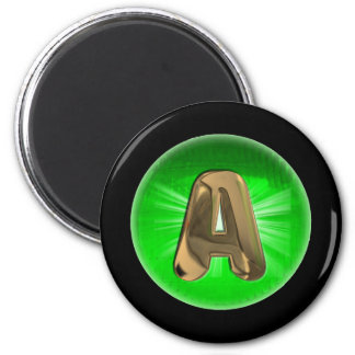 TAXI  Gold Monogram A Green light 6 Cm Round Magnet
