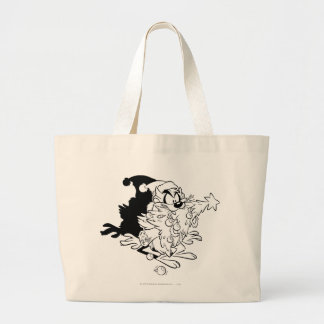 TAZ™ eating Christmas tree Large Tote Bag