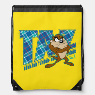 TAZ™ Tornado Terror Plaid Drawstring Bag