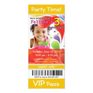 ":::TBA::: Fun Kids VIP Ticket Photo Party (yellow) 4"" X 9.25"" Invitation Card"