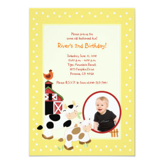 {TBA} Moo Cow Farm Barnyard *PHOTO* Birthday 13 Cm X 18 Cm Invitation Card