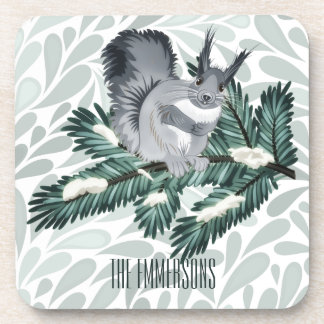 TCWC | Winter Squirrel on a Pine Branch Drink Coaster